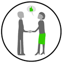 twee mensen schudden handen